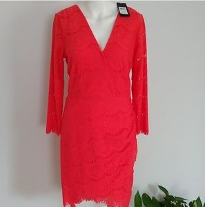 Guess fitted cut out back orange dress nwt